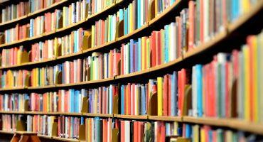 prateleiras com diversos livros posicionados lado a lado